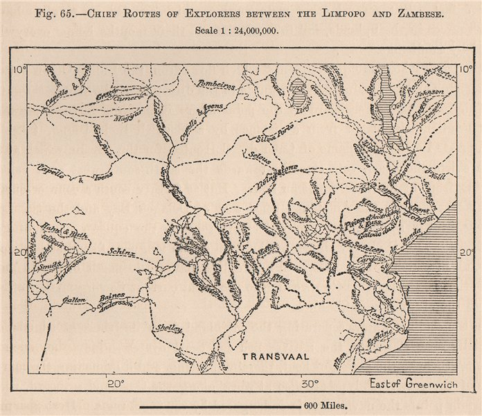 Associate Product Chief routes of explorers between The Limpopo and Zambezi. Africa 1885 old map