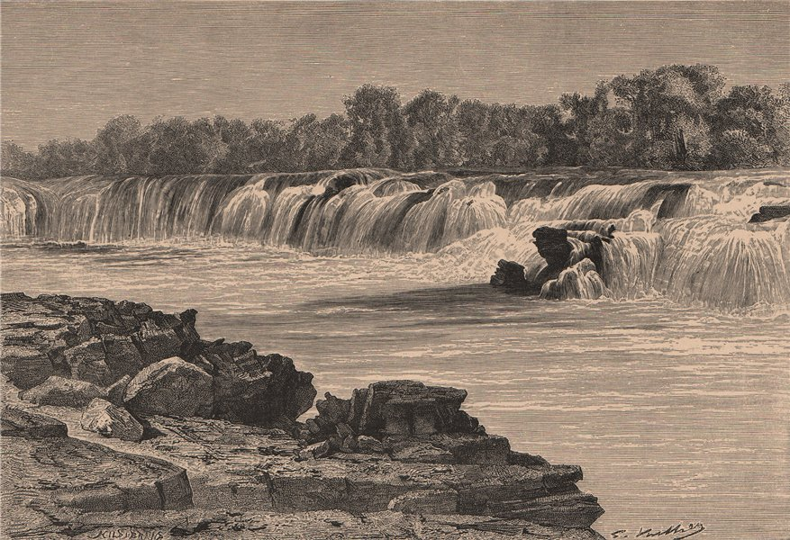 Associate Product Ngonye or Sioma Falls, on the Zambezi. Zambia 1885 old antique print picture