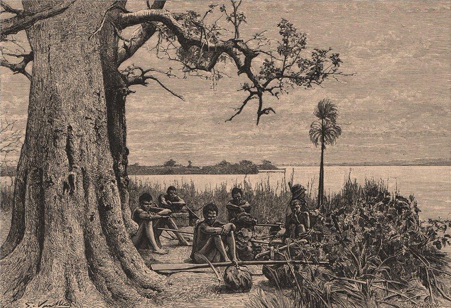Associate Product Zambezi/Chobe Confluence. Impalila Island. Zambia Botswana Namibia 1885 print