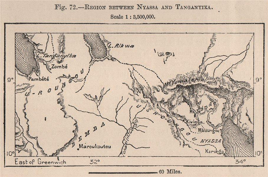 Associate Product Region between Lake Malawi/Nyasa-Tanganyika.Zambia Tanzania East Africa 1885 map