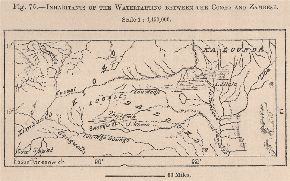 Associate Product Inhabitants between The Congo & Zambezi. Angola.  1885 old antique map chart