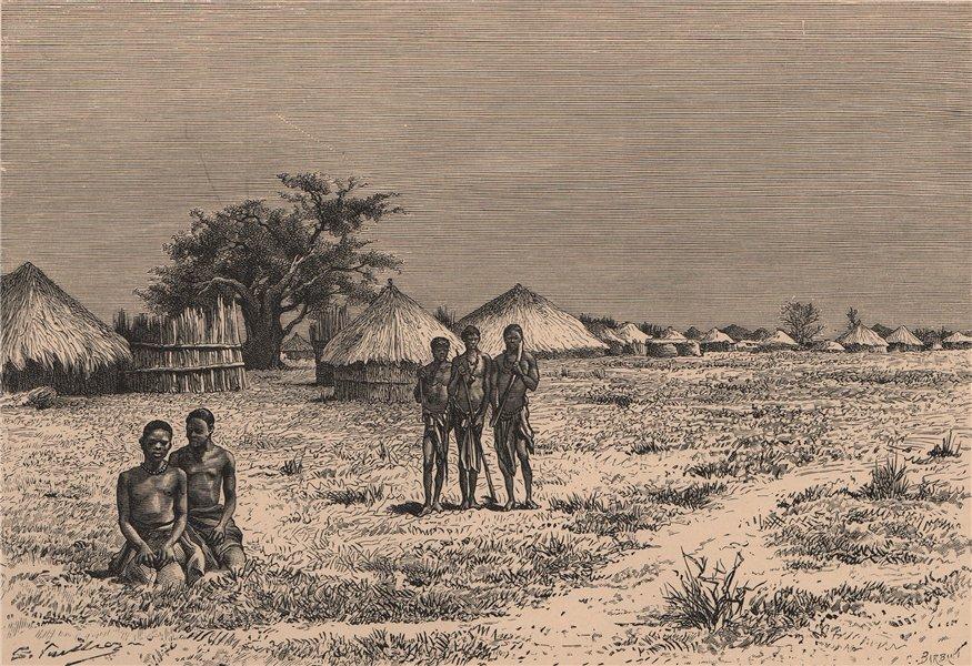 View taken at Sesheke, Capital of the Barotse. Zambia 1885 old antique print
