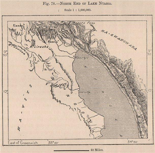 Associate Product North End of Lake Nyassa(Lake Malawi).East Africa.Malawi Tanzania 1885 old map