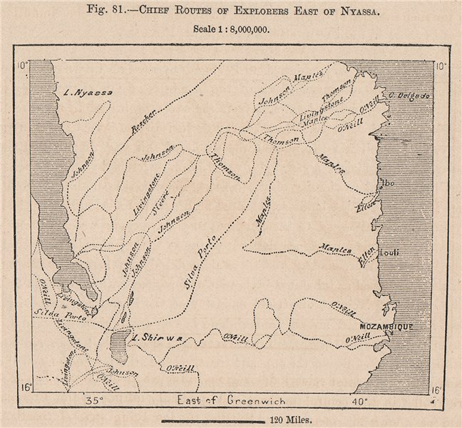 Associate Product Chief routes of explorers East of Nyassa. Lake Malawi. Mozambique 1885 old map