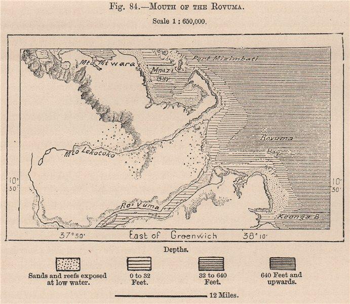 Associate Product Mouth of the Ruvuma/Rovuma river. Tanzania 1885 old antique map plan chart