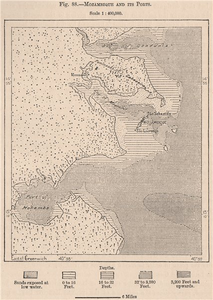Associate Product Mozambique and its ports 1885 old antique vintage map plan chart