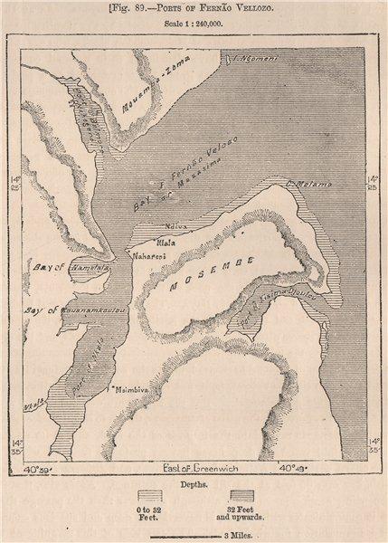 Associate Product Ports of Fernão Veloso. Fernao Veloso. Mozambique 1885 old antique map chart