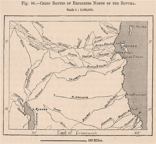 Associate Product Chief explorers routes north of the Rovuma.Tanzania.German East Africa 1885 map