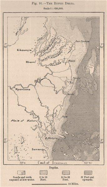 Associate Product The Rufiji Delta. Tanzania. German East Africa 1885 old antique map plan chart