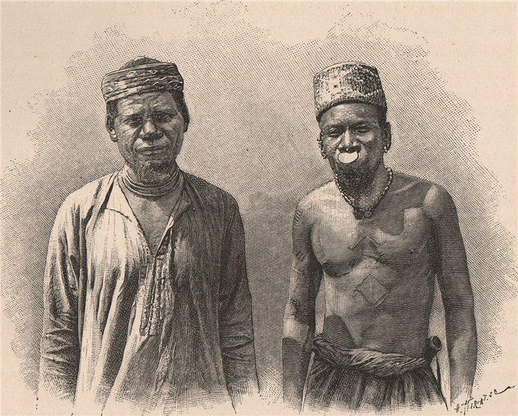 Mahiva Type. Tanzania. German East Africa 1885 old antique print picture