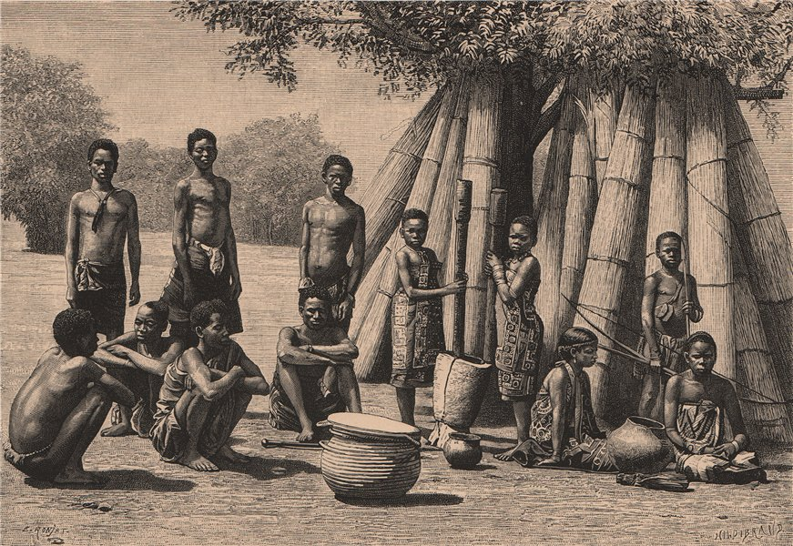 Associate Product Wasagara people. Tanzania. German East Africa 1885 old antique print picture