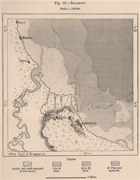 Associate Product Bagamoyo. Tanzania. German East Africa 1885 old antique vintage map plan chart