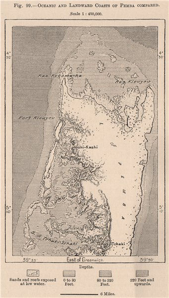 Associate Product Oceanic & Landward Coasts of Pemba Compared. Tanzania. Zanzibar 1885 old map