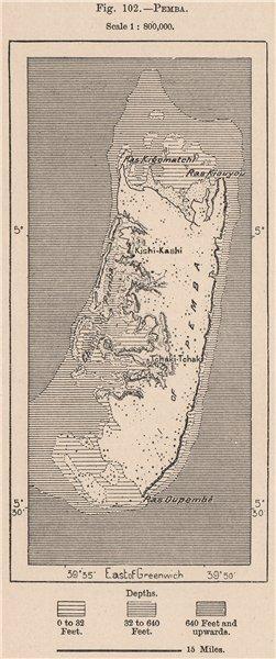 Associate Product Pemba. Tanzania. Zanzibar Archipelago 1885 old antique vintage map plan chart