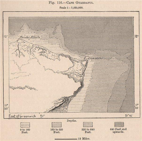 Associate Product Cape Guardafui. Ras Asir. Somalia 1885 old antique vintage map plan chart