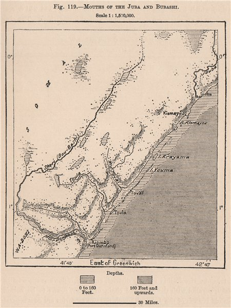 Associate Product Mouths of the Jubba and Bubashi. Somalia 1885 old antique map plan chart