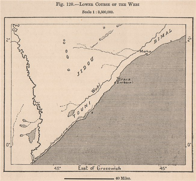 Associate Product Lower Course of the Webi (Shebelle) river. Somalia 1885 old antique map chart