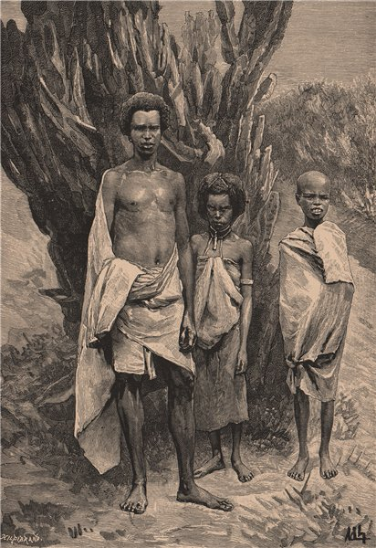 Associate Product Galla people. Ethiopia 1885 old antique vintage print picture
