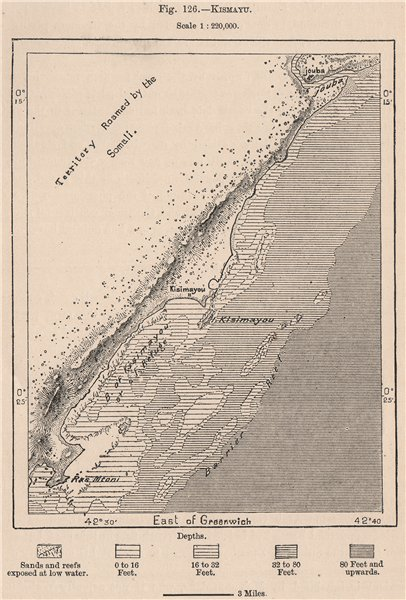 Associate Product Kismayo. Somalia 1885 old antique vintage map plan chart