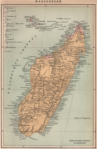 Associate Product Madagascar. East African Islands 1885 old antique vintage map plan chart