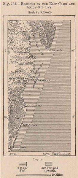 Erosions on the East Coast & Anton-Gil Bay. Antongile. Madagacscar 1885 map