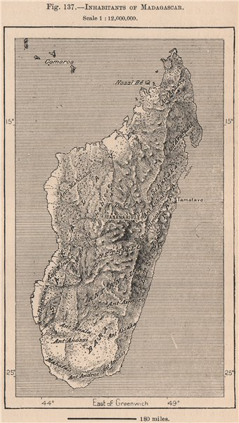 Associate Product Inhabitants of Madagascar. East African Islands 1885 old antique map chart