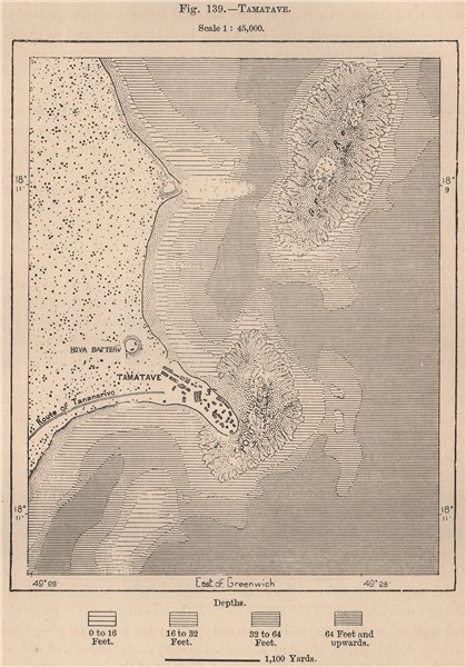 Associate Product Tamatave (Toamasina) . Madagascar 1885 old antique vintage map plan chart