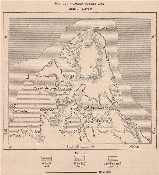 Associate Product Antsiranana Bay. Madagascar 1885 old antique vintage map plan chart