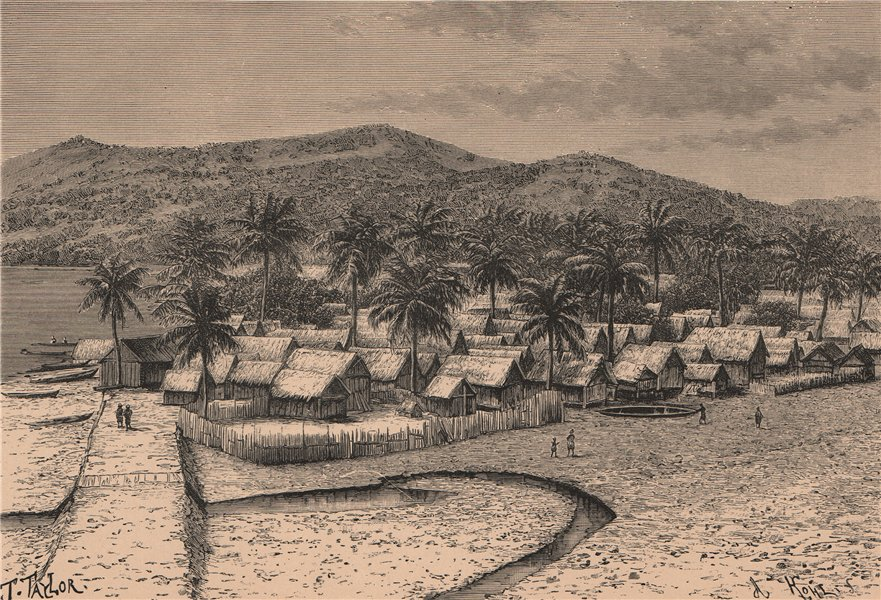 Associate Product Malagasy Village of Nossi Bé. Nosy Be. Madagascar 1885 old antique print
