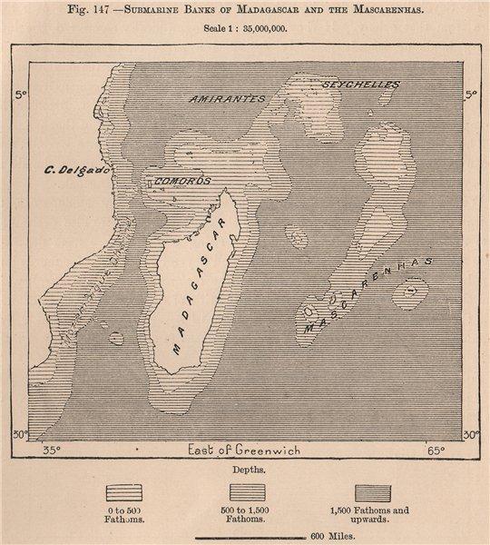 Associate Product Submarine Banks of Madagascar & the Mascarenhas. Indian Ocean 1885 old map