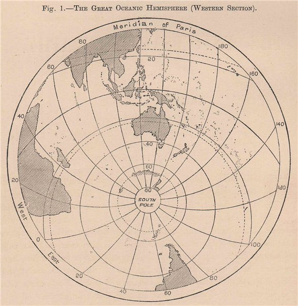 Associate Product The Great Oceanic Hemisphere (Western Section) . World 1885 old antique map