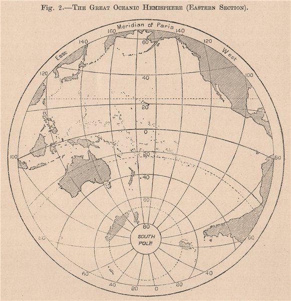 Associate Product The Great Oceanic Hemisphere (Eastern Section) . World 1885 old antique map