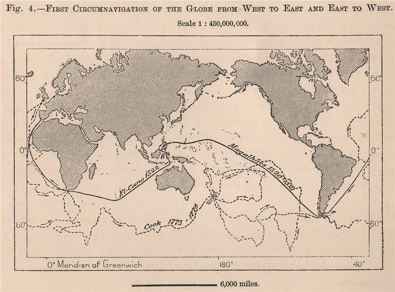 Associate Product First Circumnavigation of the Globe West to East & East-West. World 1885 map