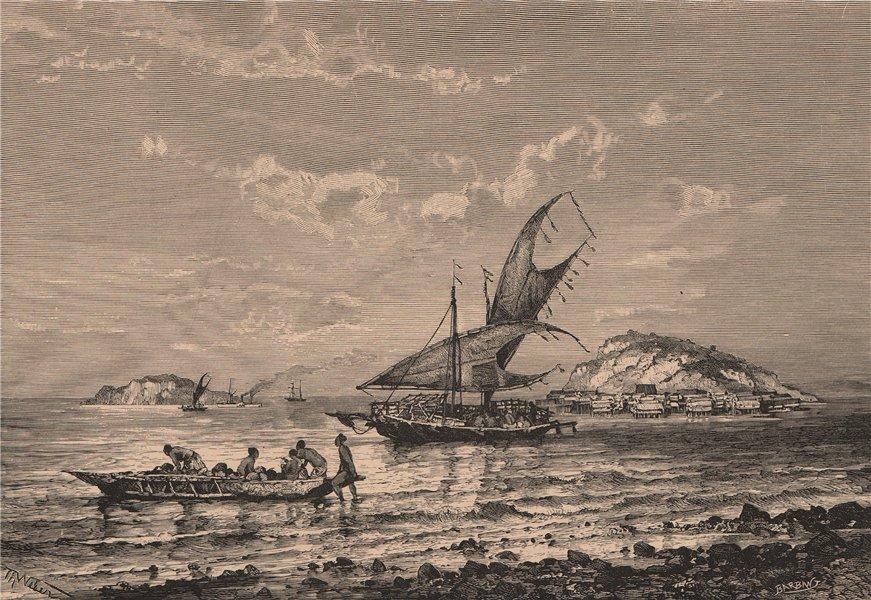 Associate Product Port Moresby, South Coast of New Guinea. Papua New Guinea 1885 old print