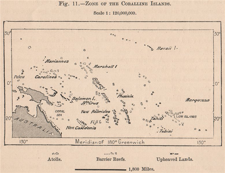 Associate Product Zone of the Coralline Islands. Pacific Islands. Polynesia Melanesia 1885 map