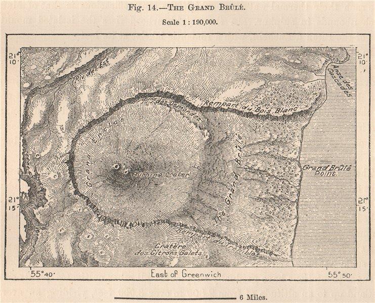 Associate Product The Grand Brûlé.La Reunion.Mascarene Islands.Mascarenhas Archipelago 1885 map