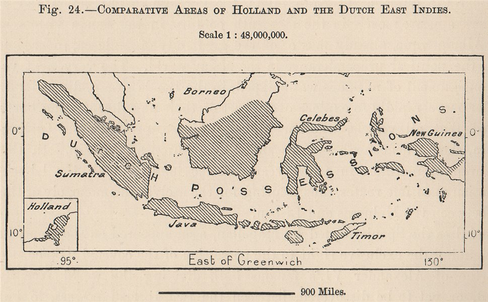 Associate Product Comparative areas of Holland and the Dutch East Indies. Indonesia 1885 old map