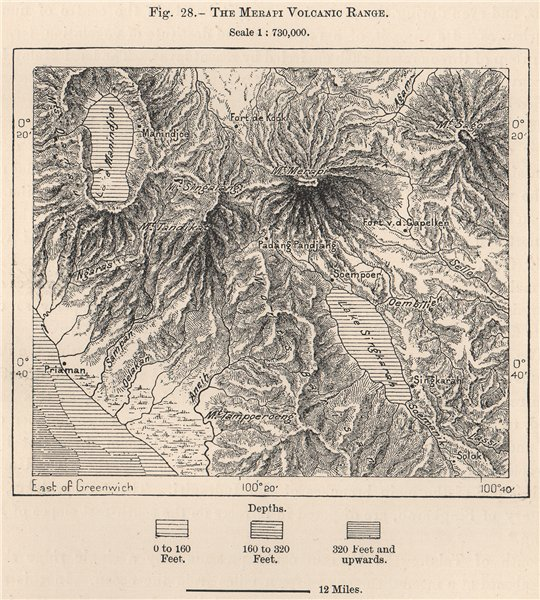 Associate Product The Mount Merapi Volcanic Range. Java, Indonesia. East Indies 1885 old map