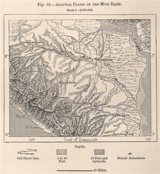 Associate Product Alluvial Plains of the Musi Basin, Sumatra, Indonesia. Palembang 1885 old map