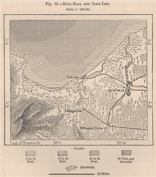 Associate Product Kutaraja (Banda Aceh) & Oleelheue. Sumatra, Indonesia. East Indies 1885 map