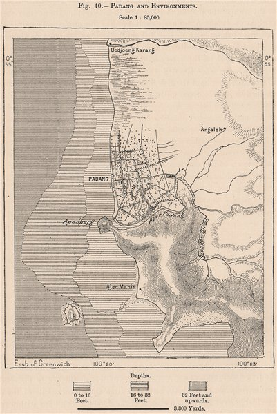 Associate Product Padang and environs, Sumatra. Indonesia. East Indies 1885 old antique map