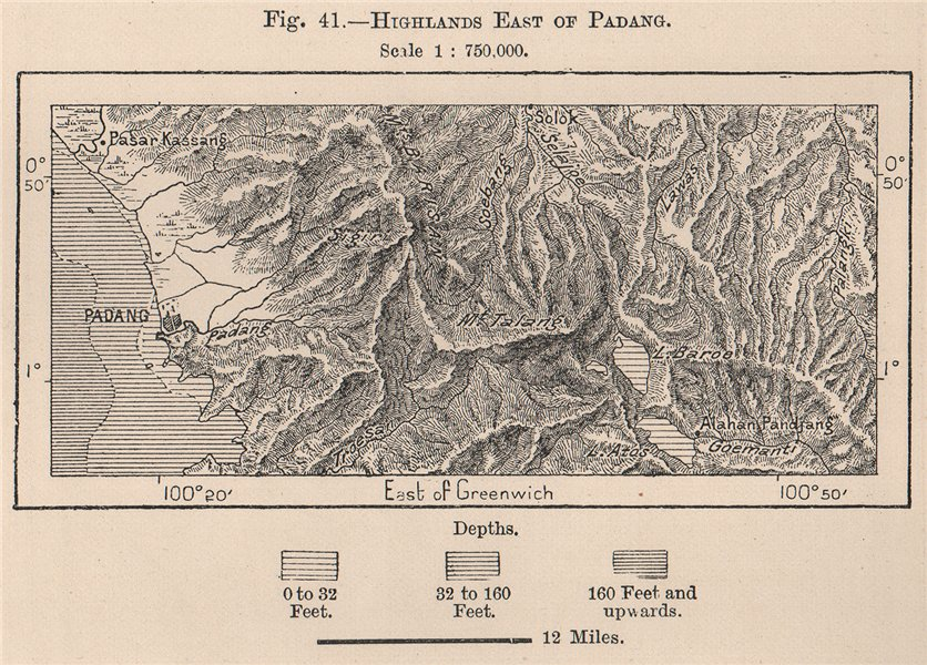 Associate Product Highlands east of Padang, Sumatra, Indonesia. East Indies 1885 old antique map