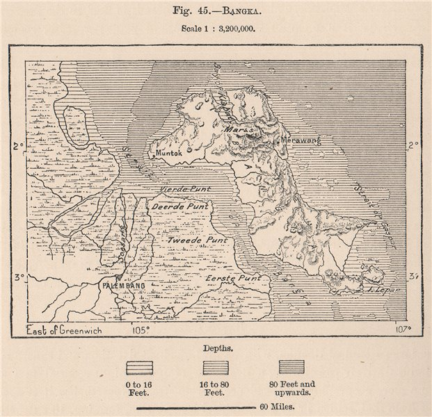 Associate Product Palau Bangka & Palembang. Indonesia. East Indies 1885 old antique map chart