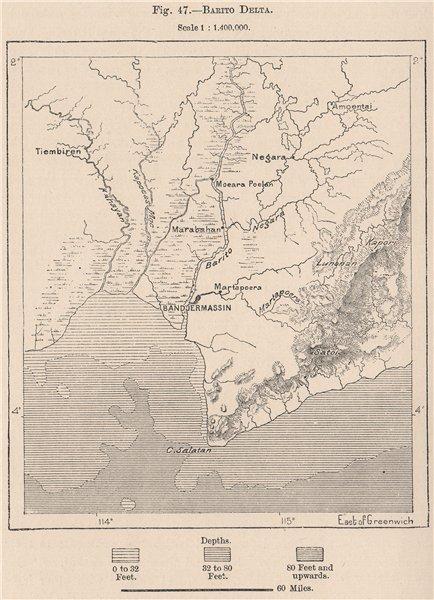 Associate Product Barito Delta & Banjarmasin,Kalimantan,Borneo.Indonesia.East Indies 1885 map