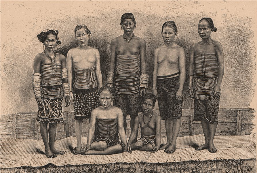 Associate Product Dayak women, Borneo. Indonesia. East Indies 1885 old antique print picture
