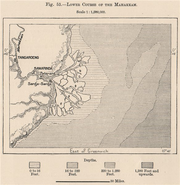 Associate Product Lower course of the Mahakam river, Kalimantan, Borneo, Indonesia 1885 old map