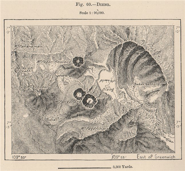 Associate Product Dieng plateau & volcanic complex, Java, Indonesia. East Indies 1885 old map