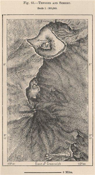 Associate Product Tengger Massif & Mount Semeru. Bromo. Java, Indonesia. Volcanoes 1885 old map