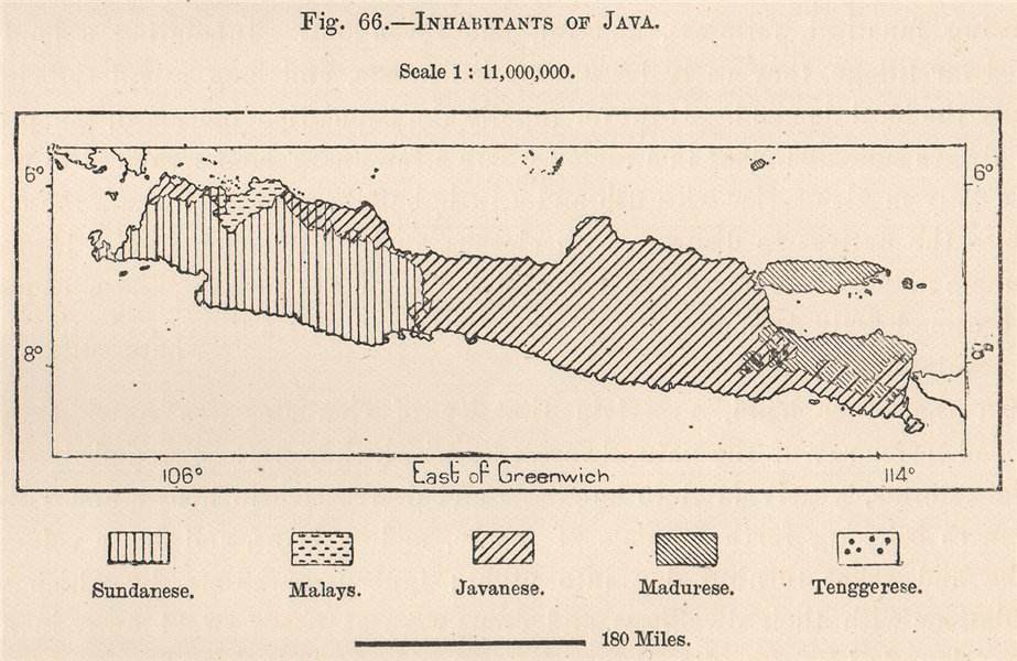 Associate Product Inhabitants of Java. Indonesia. East Indies 1885 old antique map plan chart