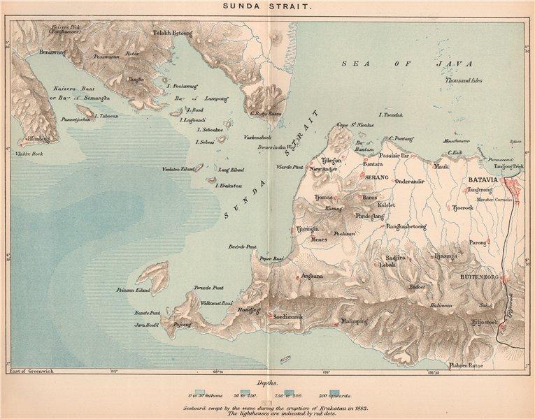 Associate Product Sunda Strait.Java/Sumatra.Batavia(Jakarta).Indonesia.East Indies 1885 old map